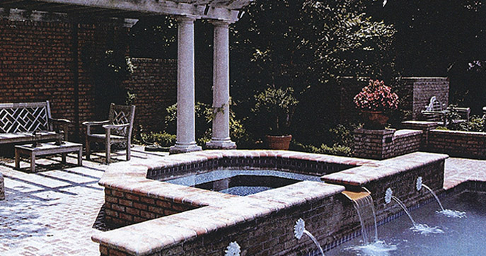 Classic Pool with Arbor and Spa