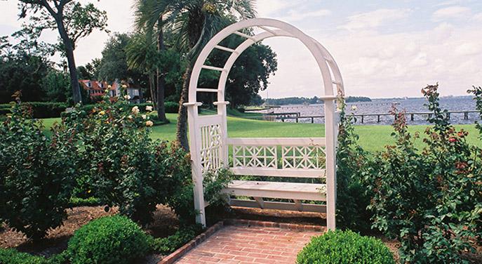 Custom Garden Seat in Rose Garden