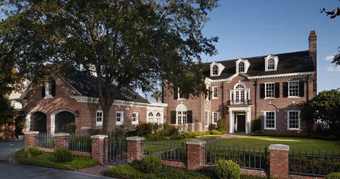 Beautiful Gardens Traditional Brick home